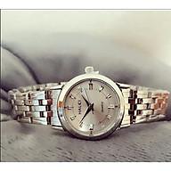 Đồng hồ cặp đôi nam nữ Halei đeo tay dây kim loại vàng bạc số vạch đơn giản chính hãng thumbnail