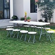 Bàn ghế gấp gọn ngoài trời - Bộ bàn ghế gập gọn - Bàn di động 1,2m + 4 ghế nhưa gập gọn thumbnail