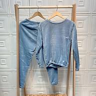 1H12 Bộ nỉ lông thêu chữ D Studio, bộ bông mặc ở nhà đồ bộ lông mùa đông thumbnail