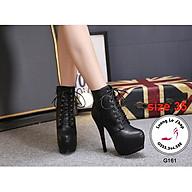 Thanh lý giày cao gót 14cm da lì buộc dây dáng boots màu đen sizze 35 ms C161 thumbnail