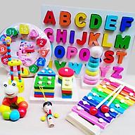 Combo 8 món đồ chơi gỗ SM (đàn gỗ, còi gỗ, trụ tả hình học, bảng chữ cái, hươu cao cổ, đồng hồ, sâu gỗ, tháp cầu vồng) thumbnail