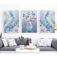 Decal dán tường trang trí phòng ngủ bộ 3 tranh đôi chim công bên hoa Mẫu Đơn Tipo_0264 thumbnail