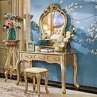 Bàn phấn tân cổ ánh vàng, kèm ghế ,3 ngăn kéo 120cm - Nội thất phòng ngủ thumbnail
