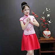 Set áo trung hoa chân váy xòe bé gái thumbnail