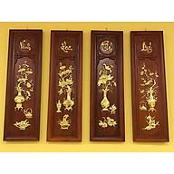 Tranh tứ quý gỗ hương dát vàng 1m thumbnail