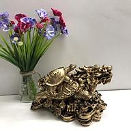 Tượng Đá Long Quy Phong Thủy - Màu Nhũ Vàng - Size Lớn thumbnail