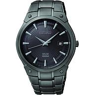 Seiko Men s SNE325 Dress Solar Black Stainless Steel Watch thumbnail
