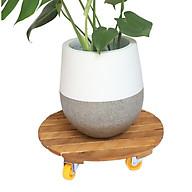 Đế lót chậu Greenhome bằng gỗ có bánh xe Tròn R40cm (màu vàng) chịu lực 180kg-Di chuyển các chậu cây một cách dễ dàng thumbnail