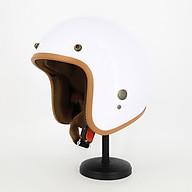 Mũ bảo hiểm 3 4 SRT lót nâu màu Trắng bóng đơn giản nhưng đậm chất riêng thumbnail