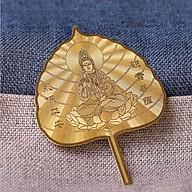 LÁ Bồ Đề Phật Bà Quan Âm may mắn, tài lộc, bình an màu vàng PĐ thumbnail