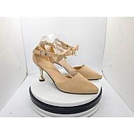 Giày Nữ, Giày Cao Gót Nữ Sandal Cao Gót Nữ Màu Kem Da Nhung Mềm Mịn Bít Mũi, Phối Nơ Hạt Ngọc, Quai Cài Ngang, Đế Nhọn Cao 5 Phân, 5 Cm Phong Cách Hàn Quốc CGPN0095-YN141 thumbnail