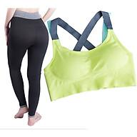 Bộ sản phẩm quần áo yoga SR08YG áo mãnh 2 dây màu xanh lá non cao cấp thumbnail