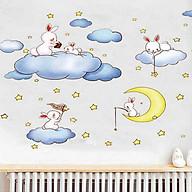 Decal dán tường thỏ ngồi trên mây am9168 thumbnail
