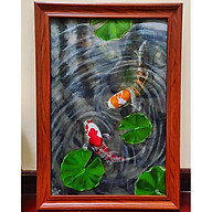 Tranh sơn dầu họa sỹ sáng tác vẽ tay ĐÔI CÁ thumbnail