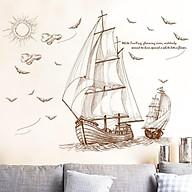 Tranh Decal Trang trí hình thuyền buồm hải âu - T05 thumbnail