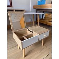 Bàn trang điểm gỗ ngồi bệt có kèm gương gấp gọn tiện lợi, bàn gỗ đa năng thiết kế hiện đại thumbnail