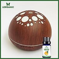 Combo máy khuếch tán máy xông tinh dầu Lorganic ánh trăng vân gỗ tối FX2041 + tinh dầu cam hương Lorganic (10ml) Phun sương sóng siêu âm Thích hợp xông phòng 15-40 m2. thumbnail