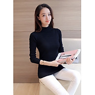 Áo len nữ cổ 3 phân- chất len tơ mềm mịn ( đen ) thumbnail