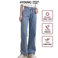 Quần jeans nữ dài ống rộng có túi phối khuyên tròn trẻ trung 4YOUNG QJ5 thumbnail