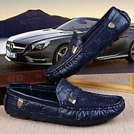 Giày lười da bò thật BH 1 năm, 3 màu đen, xanh than, trắng siêu đẹp dập vân CK độc đáo, tặng lót da - Thiên Vương Shop thumbnail