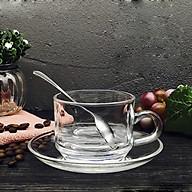 Bộ 2 tách cà phê UNI 200ml (Kèm đĩa), có quai, chất liệu thủy tinh, dành cho đồng uống nóng. thumbnail