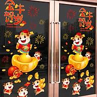 Decal dán tường, dán kính trang trí Tết- Trâu vàng bên hũ tiền- mã sp QR209136 thumbnail