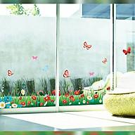 Decal dán tường trang trí phòng khách, chân tường- Chân rào hoa sắc màu- DAY7186 thumbnail