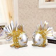 Tượng cá chép vàng đính đá vảy hoa hồng tinh tế thumbnail
