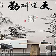 Decal dán tường tranh phong thủy núi sông đen trắng 2 mảnh gs8813 thumbnail