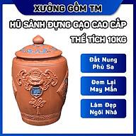 Hủ sành đựng gạo gốm sứ Bát Tràng nắp nhọn Tài Lộc điêu khắc hoa văn thumbnail