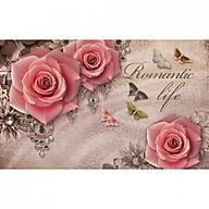 Tranh dán tường 3D hoa hồng đẹp trang trí phòng khách, phòng ngủ thumbnail