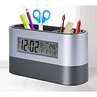 Hộp đựng bút đa năng 2in1 cao cấp kiêm đồng hồ điện tử để bàn version3 ( Đựng bút, xem giờ , báo thức , đếm ngược , hẹn giờ, đo nhiệt độ, xem lịch - Tặng bộ 6 con bướm dạ quang phát sáng ) thumbnail