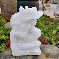 Tượng rồng 12 con giáp phong thủy đá trắng 12cm đá Non Nước thumbnail