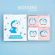 Set hộp 4 đôi tất nữ NICESOKS chất liệu cotton cao cấp, ngắn cổ thể thao, họa tiết Doraemon , hàng chính hãng NS5005FS thumbnail