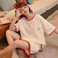 Đồ bộ nữ cộc tay bộ mặc nhà dễ thương chất liệu thun cotton mềm mại thumbnail