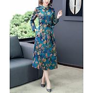 Fall new heavy silk fragrant cloud yarn stand-up collar silk mid-length and slim dress thumbnail