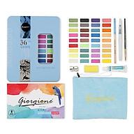 Bộ Màu nước vẽ cao cấp 36 màu nén tặng kèm 8 món gồm túi đựng, bút nước, bút lông, bút chì, miếng mút, giấy vẽ, gọt chì, tuýp màu lẻ thumbnail