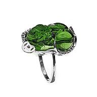 Nhẫn nữ BẠC HIỂU MINH NU455X tỳ hưu đá xanh lá cây thumbnail
