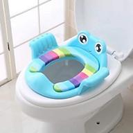 Bệ lót vệ sinh ếch có tay vịn cho bé Giao màu ngẫu nhiên thumbnail