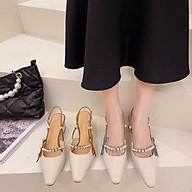 Giày cao gót công sở gót trụ 5cm, giày da mềm hở gót đính cườm ngọc thumbnail