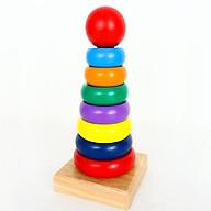 Tháp màu cầu vồng gỗ giúp bé nhận biết màu sắc, kích cỡ - Loại lớn -totdepreHG1019 thumbnail