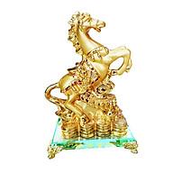 Ngựa vàng phong thủy mã đáo thành công đế kính cao cấp thumbnail