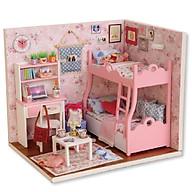 Nhà Búp Bê Lắp ghép màu hồng xinh xắn cho bé gái kèm keo dán, dụng cụ lắp ghep và mica thumbnail
