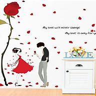 Decal dán tường đôi tình nhân và hồng một bông thumbnail