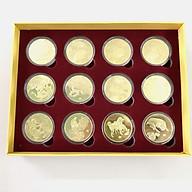 Hộp quà tặng tết 12 xu hình 12 con giáp hoàng đạo, dùng làm quà tặng biếu dịp Lễ Tết đầy ý nghĩa, trưng bày trong nhà, cầu may mắn, cát tường - SP005022 thumbnail