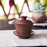Chén tử sa cổ Nghi Hưng liễn trà có nắp đậy và dĩa lót tách trà chum trà tinh hoa trà đạo phụ kiện bàn trà thumbnail