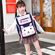 Balo đi học cho bé chất liệu vải Polyester chống thấm hình thỏ gấu siêu dễ thương - Hồng thumbnail