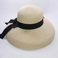 Nón cói lồng đen đi biển vành rộng to và sâu cho nữ, thắt nơ vải đẹp, chống nắng tốt, chất liệu cói bền chắc theo thời gian thumbnail
