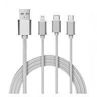 Ca p sạc 1 mét dây dù cho iPhone Samsung điện thoại máy tính bảng đa năng 3 in 1 MD818ZM A thumbnail