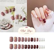 Set 24 mong tay giả , nail giả sơn gel đính đá nghệ thuật ( kèm keo ) D66 thumbnail